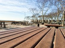 Picnic place at the Brighton beach on a sunny day Stock Photos