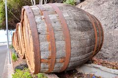 Wooden Wine Barrel. Photo Picture of a Classic Wooden Wine Barrel stock images