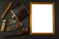 Photo picture frame on black wooden background Stock Photo