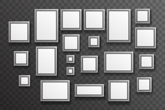 Photo Picture Gallery Paper Big Little Realistic Icon Set Template Transparent Wall Background Mock Up Design Vector Stock Photography