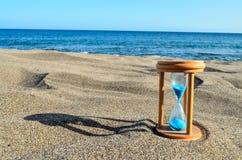 Hourglass Clock on the Sand Beach. Photo Picture of Hourglass Clock on the Sand Beach royalty free stock photography