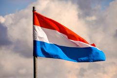 Moving Flag in the Wind. Photo Picture of a Moving french Flag in the Wind Stock Image