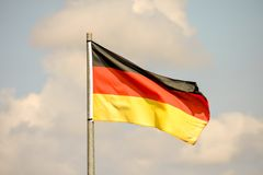 Moving Flag in the Wind. Photo Picture of a Moving German Flag in the Wind Royalty Free Stock Photography
