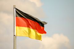 Moving Flag in the Wind. Photo Picture of a Moving German Flag in the Wind Stock Photos