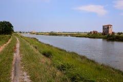 Landscape The Po Delta. Photo pictureLandscape of The Po Delta River in Italy Stock Image