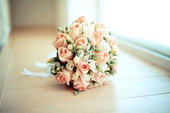 Elegant wedding bride bouquet with roses stock photo