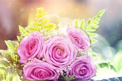Photo of pink wedding bouquet. Vintage photo of pink wedding bouquet Stock Images