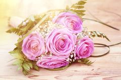 Photo of pink wedding bouquet. Vintage photo of pink wedding bouquet Royalty Free Stock Photo