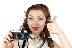 Photo of the pinup woman with thumb up Stock Photo