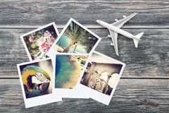 Photo plane travel view traveler photograph album. Instant background top nostalgia collection concept - stock image stock photos