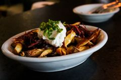 Plate of french fries with caramelized onion and mayonnaise