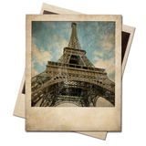 Photo polaroïd d'instant de Tour Eiffel de vintage Photos libres de droits