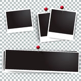 Photo polaroid frames on wall attached with pins.  frame and collection of retro  picture. Vector illustration set Stock Photos
