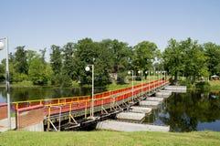 A pontoon bridge across the river Royalty Free Stock Image