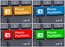 Photo portfolio text on keypad button Stock Image
