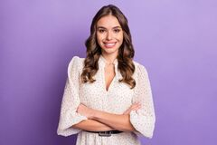 Free Photo Portrait Of Confident Model Wearing White Clothes Smiling Cheerful Isolated On Pastel Purple Color Background Stock Image - 212071081