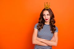 Photo portrait of upset angry annoyed irritated pensive wearing dress she her lady making plan dream looking up isolated. Bright vivid color background royalty free stock photos