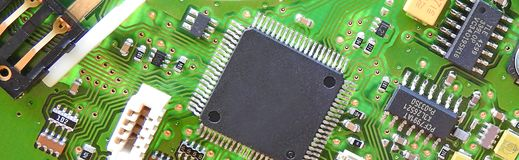 Pcb printed circuit board comms unit control panel switches points microchip electronic. Photo of a printed circuit board comms electronic unit showing switches royalty free stock images