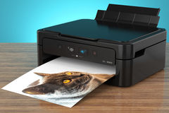Photo printer with cat Royalty Free Stock Photo