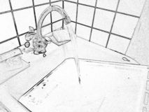 Photo processed in the style of pencil drawing. From the tap in the kitchen running water stock photography