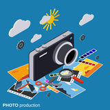Photo production, montage, editing vector concept Stock Image