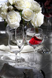 Photo of professional restaurant serving. Glasses close up Stock Photos