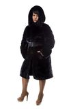 Photo of pudgy brunette in black coat Stock Photos