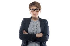 Photo of pudgy business woman with short hair Royalty Free Stock Images