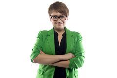 Photo of pudgy woman in green jacket Royalty Free Stock Photos