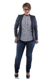 Photo pudgy woman in jeans. On white background stock photography
