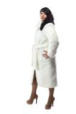 Photo of pudgy woman in long white coat Stock Photos