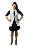 Photo of pudgy woman in white fur jacket Royalty Free Stock Images