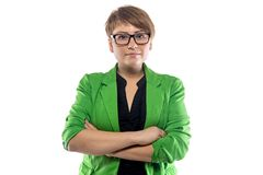 Photo of pudgy young woman with arms crossed Stock Photography