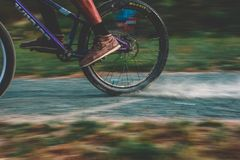 Photo of Purple Mountain Bike Drifting Stock Image