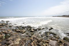 Qazvin Sea. Photo for Qazvin Sea Ramsar city in Islamic Republic of Iran, which show the sea and its beach and some rocks and many waves of water stock image
