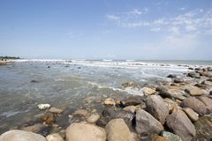 Qazvin Sea. Photo for Qazvin Sea Ramsar city in Islamic Republic of Iran, which show the sea and its beach and some rocks and many waves of water stock images