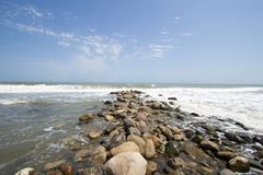 Qazvin Sea. Photo for Qazvin Sea Ramsar city in Islamic Republic of Iran, which show the sea and its beach and some rocks and many waves of water royalty free stock image