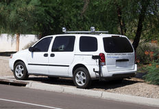 Photo radar van speed trap. In residential area Stock Photos