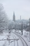 Photo of railroad in winter Stock Photo