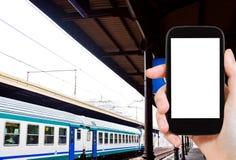Photo of railway platform and train Stock Photos