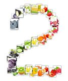 Fruit and Vegetable Letter. Photo of rainbow colorful abstract mix rectangles in a letter A shape with fruit and vegetable isolated on white background Stock Photos