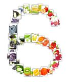 Fruit and Vegetable Letter. Photo of rainbow colorful abstract mix rectangles in a letter A shape with fruit and vegetable isolated on white background Royalty Free Stock Photography