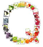 Fruit and Vegetable Letter. Photo of rainbow colorful abstract mix rectangles in a letter A shape with fruit and vegetable isolated on white background Royalty Free Stock Photos