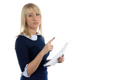 Photo of reading business woman Royalty Free Stock Photography