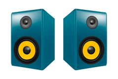 Photo realistic audio speakers in. Isolated on white background vector illustration