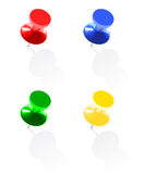 Photo realistic colorful pins  on white background Stock Photography