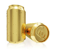 A photo realistic golden rendering of two tin cans (series) Royalty Free Stock Image