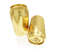 A photo realistic golden rendering of two tin cans (series) Stock Image