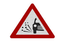 Photo realistic 'loose chippings' warning sign. Photo realistic reflective metallic 'loose chippings' sign, isolated on a pure white background Stock Photo