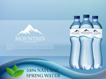 Photo Realistic Mineral water in plastic bottle advertising in editable vector format. 3d illustration Stock Photography